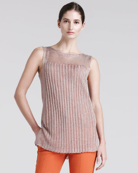 Metallic-Knit Top