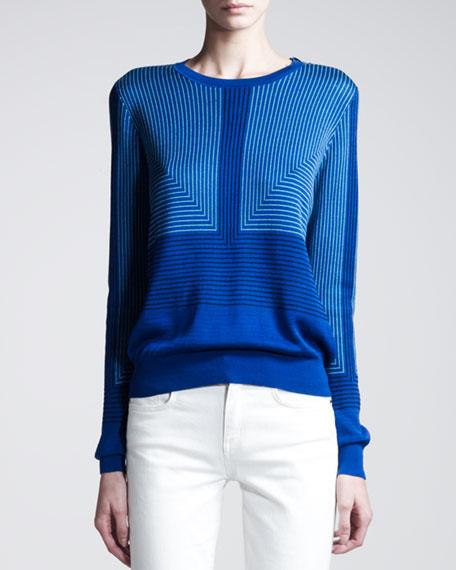 Jacquard-Print Silk Pullover