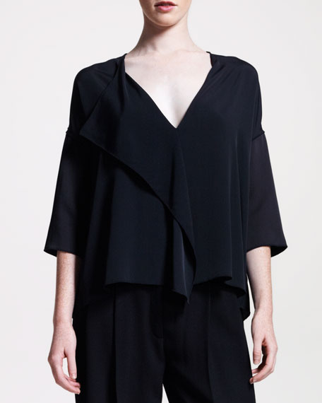 Fluid Draped-Front Blouse