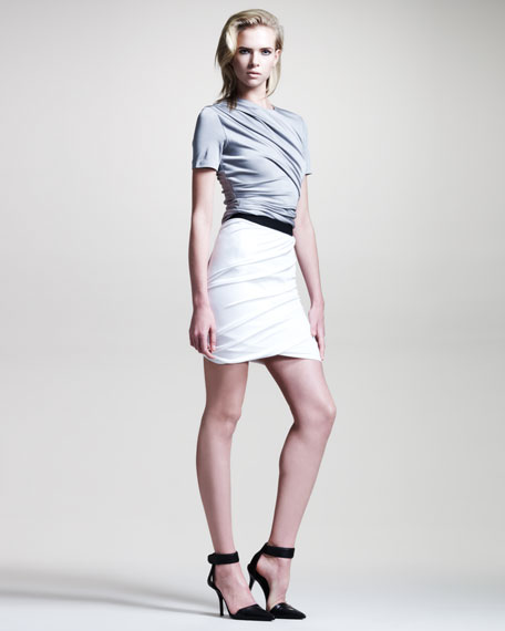 Draped Shiny Jersey Skirt