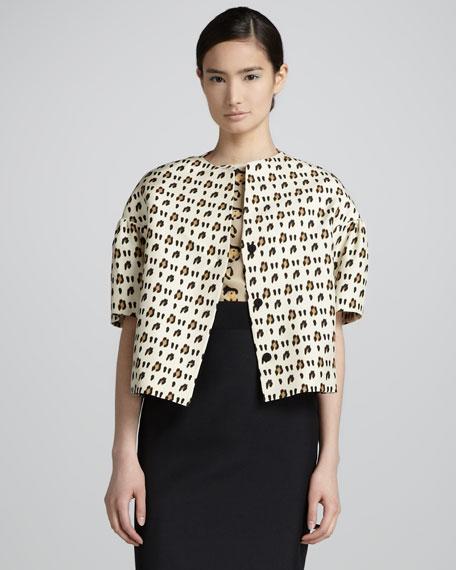 Leopard-Print Bell Sleeve Silk Shantung Jacket