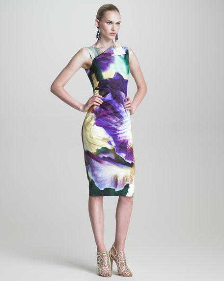 Iris-Print Sheath Dress