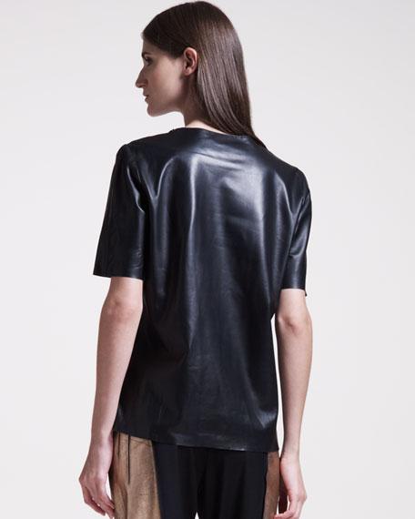 Side-Zip Leather Tee