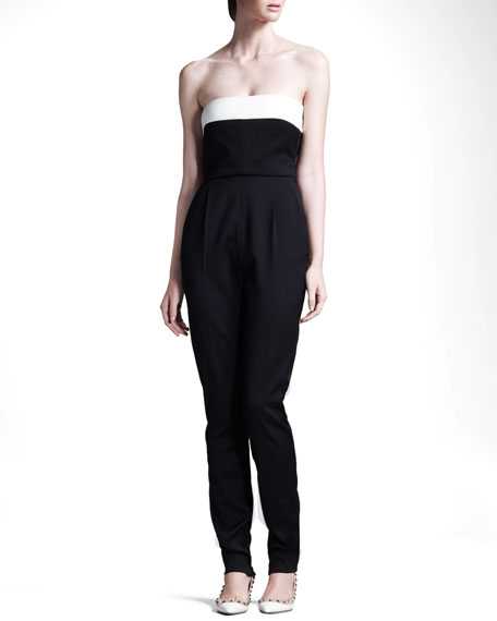 Techno Couture Strapless Bow-Back High-Waist Jumpsuit