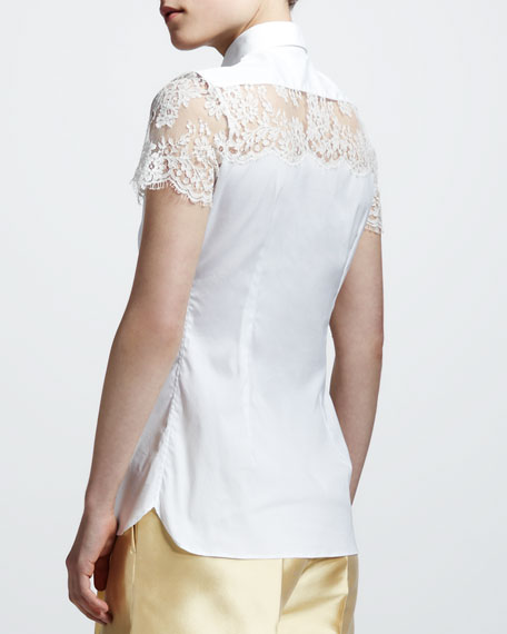 Lace-Shoulder Poplin Blouse