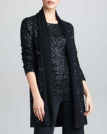 Sequined Cashmere-Silk Cozy Cardigan, Black