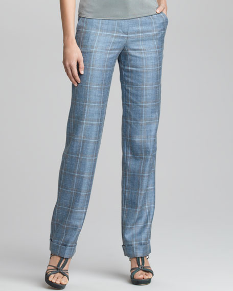 Plaid Flat Front Trousers