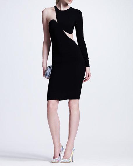 Contoured Mesh-Inset One-Sleeve Sheath Dress