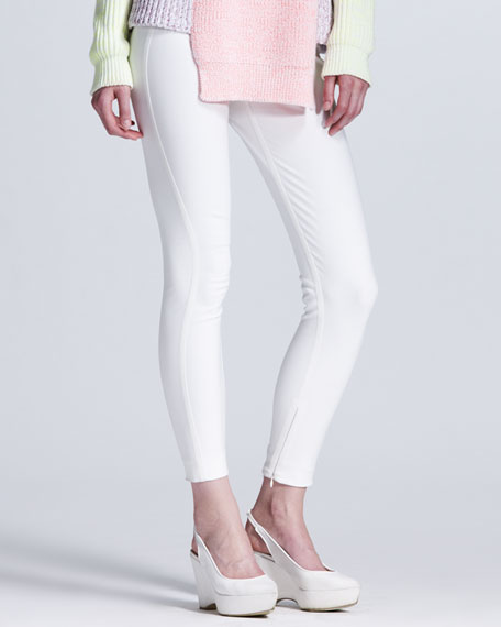 Back-Zip Leggings, White