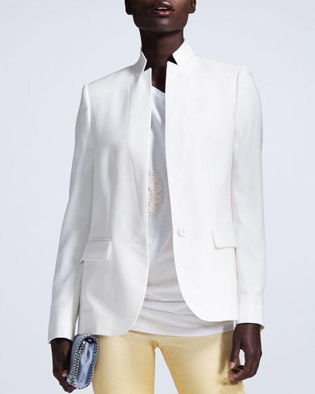Open Weave Stand-Collar Blazer