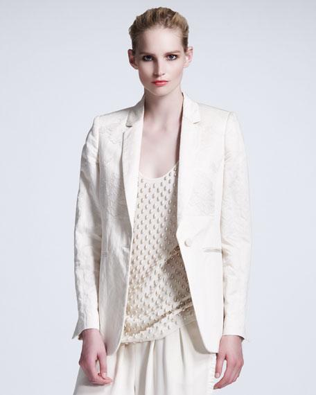 Lace-Overlay Sateen Jacket