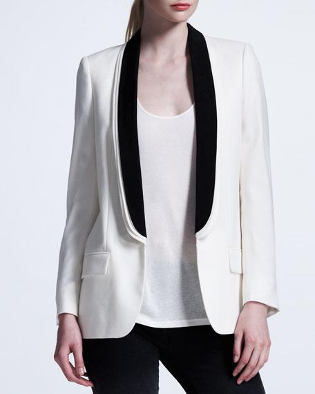 Triple-Lapel Tuxedo Jacket, White