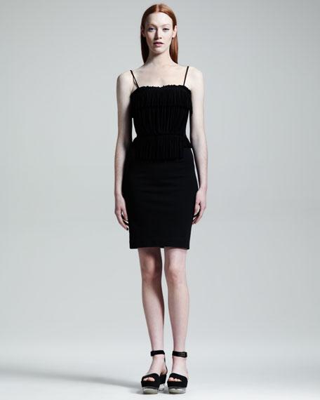 Plisse-Top Jersey Dress