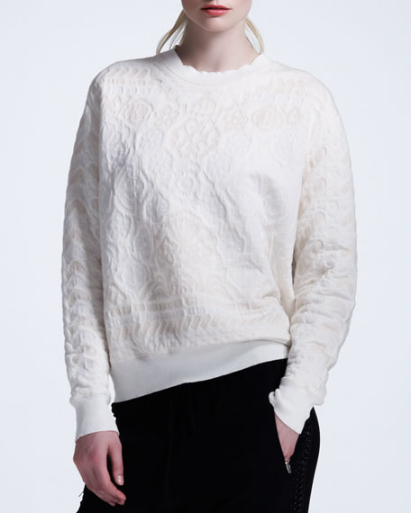Damask-Embossed Sweatshirt
