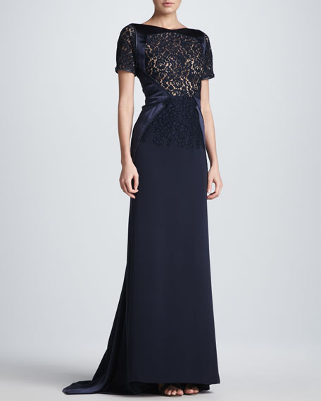 Lace Sheer-Overlay Gown