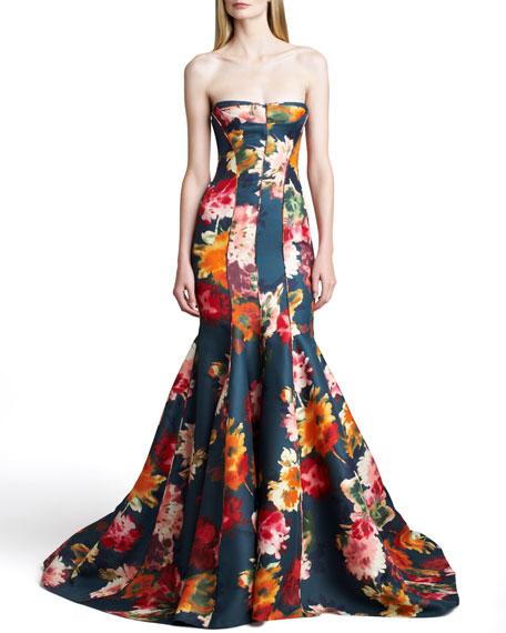 Floral Gazar Strapless Gown