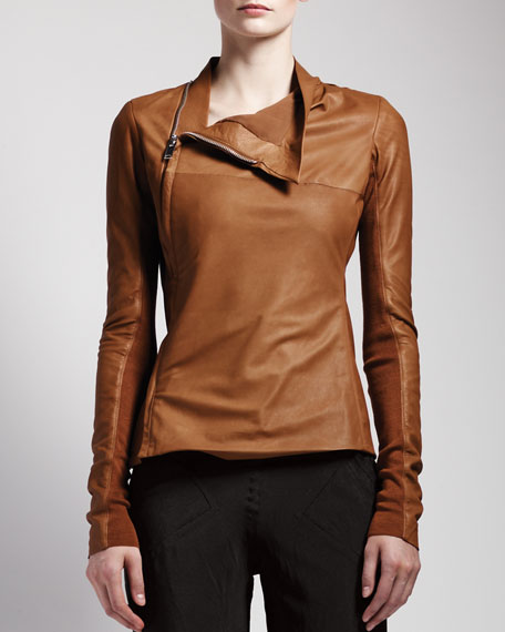 Side-Zip Leather Jacket, Honey