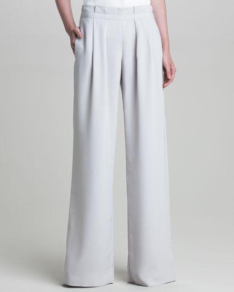Crepe Pleated-Waist Pants