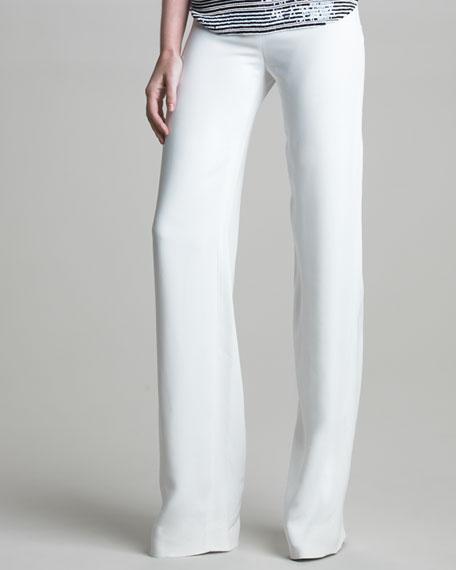 Crepe Flat-Front Pants