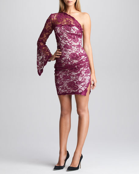One-Shoulder Lace-Overlay Dress, Lotus