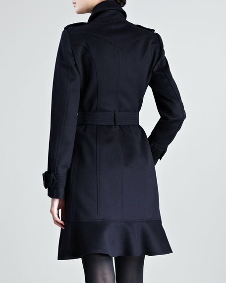 Ruffle-Hem Wool-Cashmere Trenchcoat