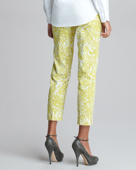 Printed Cropped Pants, Chartreuse