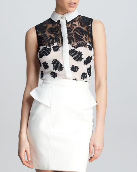 Sleeveless Floral Combo Shirt, White/Black