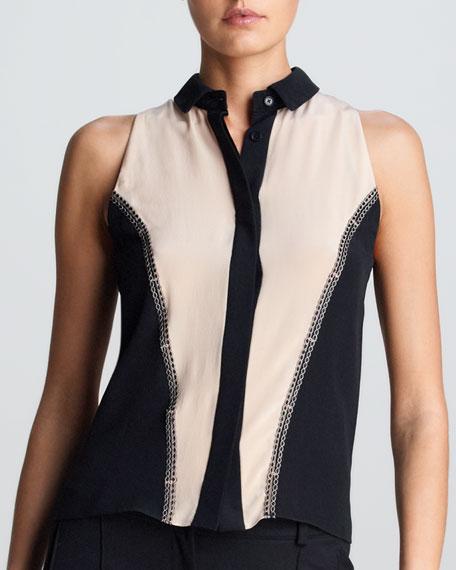 Sleeveless Colorblock Silk Blouse