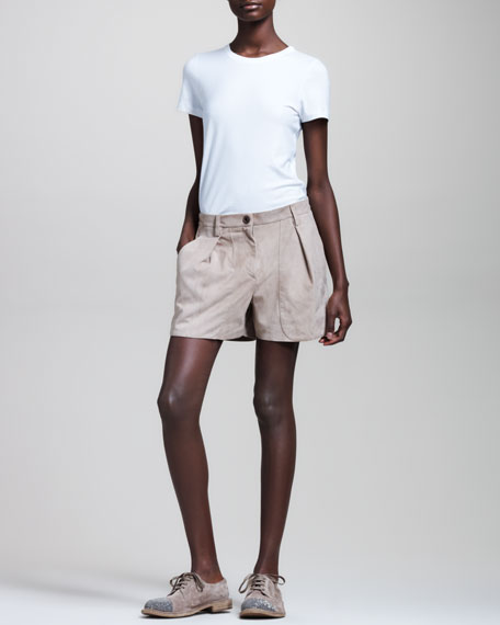 Pleated Suede Shorts