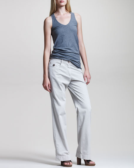 Garment-Dyed Wide-Leg Pants