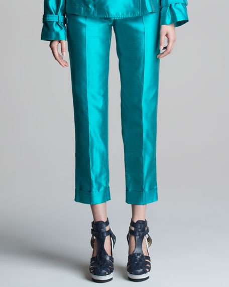 Cropped Shantung Pants with Cuffs