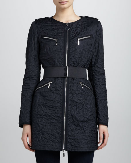 Quilted Elastic-Belt Jacket