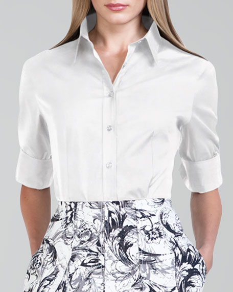 basic-button-front-shirt,-white by carolina-herrera