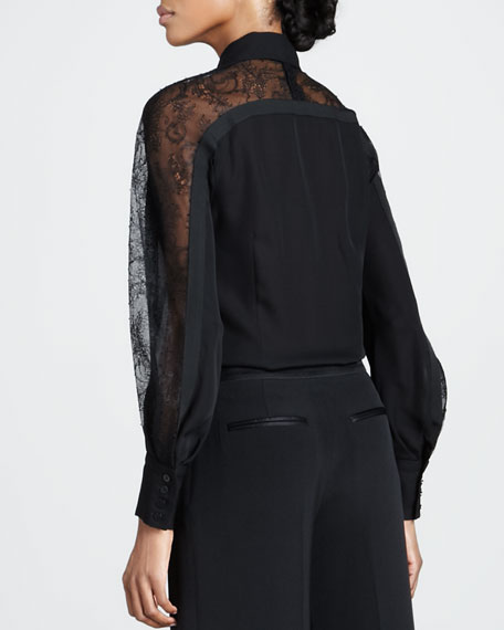 Chantilly Lace-Sleeve Blouse