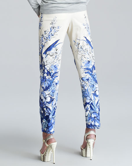 Pleated Floral-Print Trousers