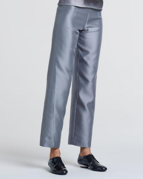 Cropped Wide-Leg Pants, Greige