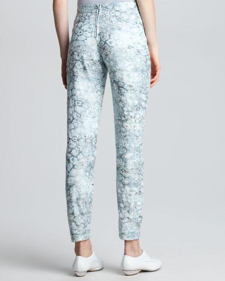 Narrow Floral Jacquard Pants