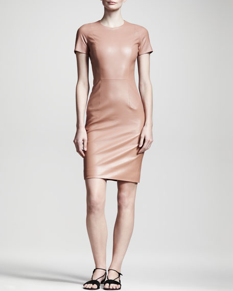 Shiny Leather Dress, Mauve