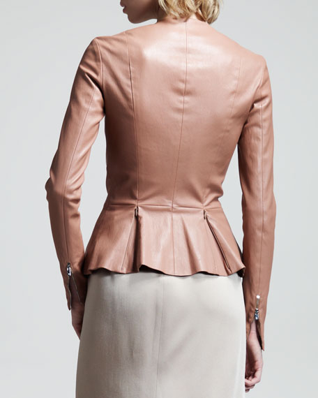 Stretch-Leather Peplum Jacket
