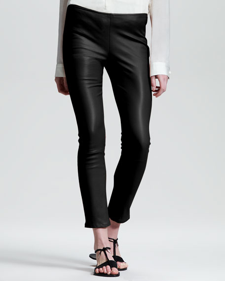 Shiny Stretch-Leather Leggings