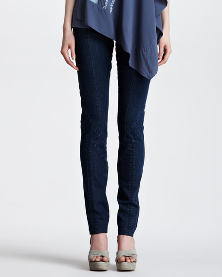 Second-Skin Seamed Jeans, Indigo