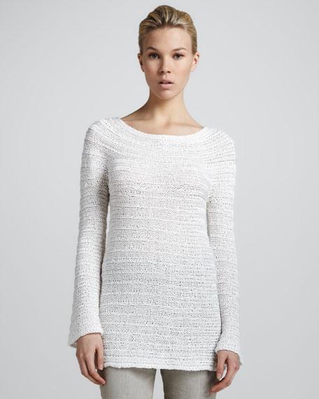 Long-Sleeve Sweater, White