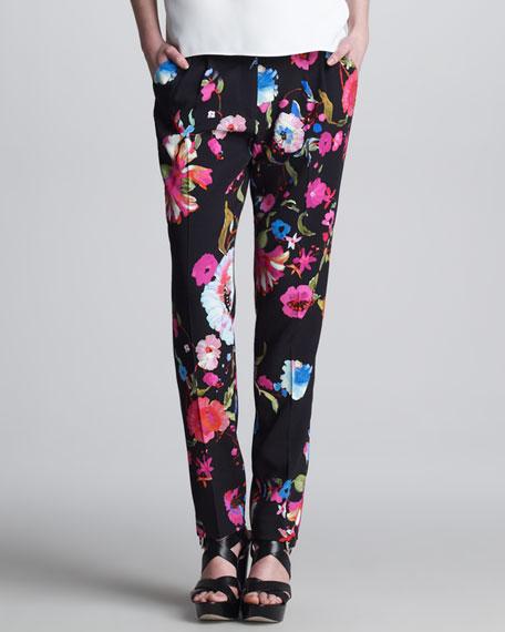 Pleated Floral-Print Pants