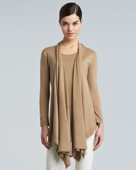 Long-Sleeve Drape-Front Cozy, Honey Beige