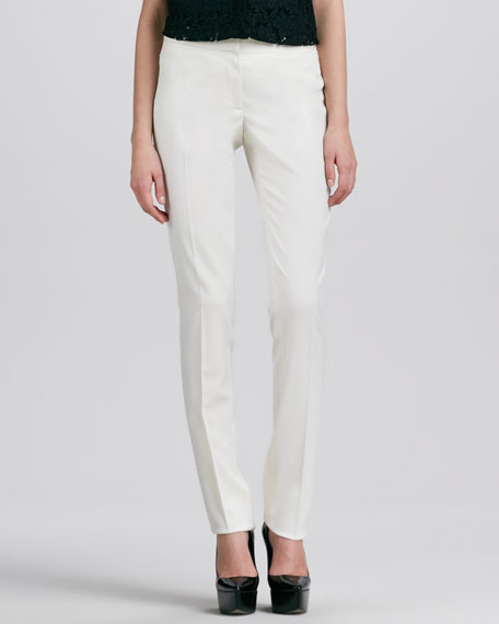 Straight-Leg Pants, White