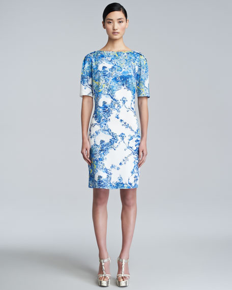 Bethany Printed Short-Sleeve Dress