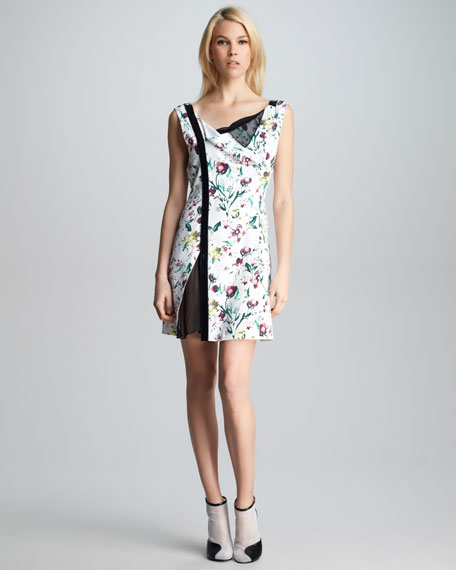 Asymmetric-Placket Floral Dress