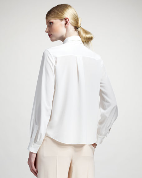 Pleated-Front Blouse
