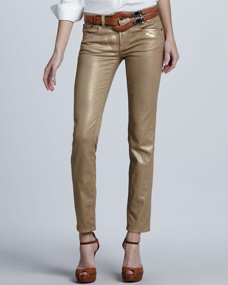 Cropped Metallic Matchstick Pants