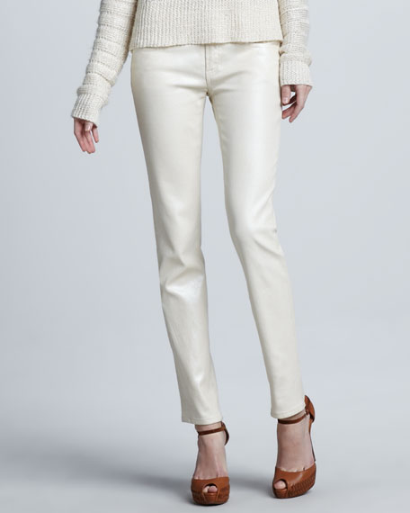 Cropped Matchstick Pants, Pearl Cream